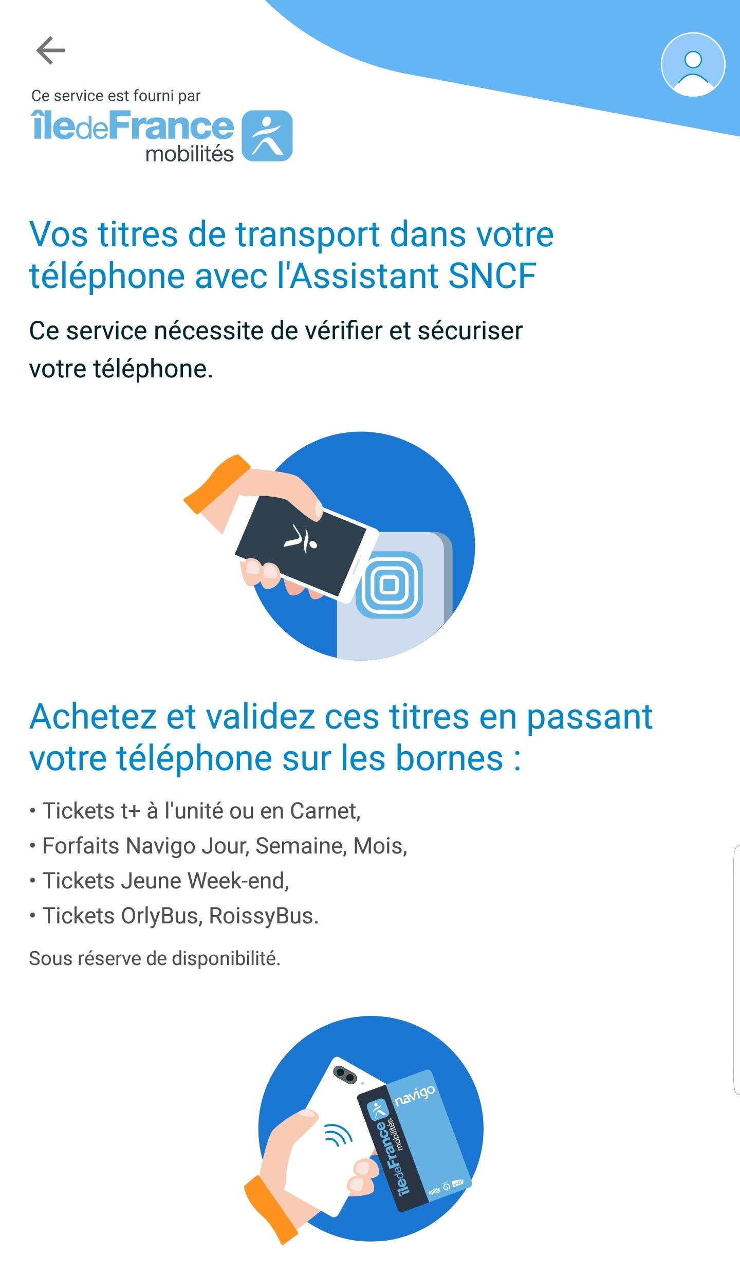 Assistant SNCF Navigo Android