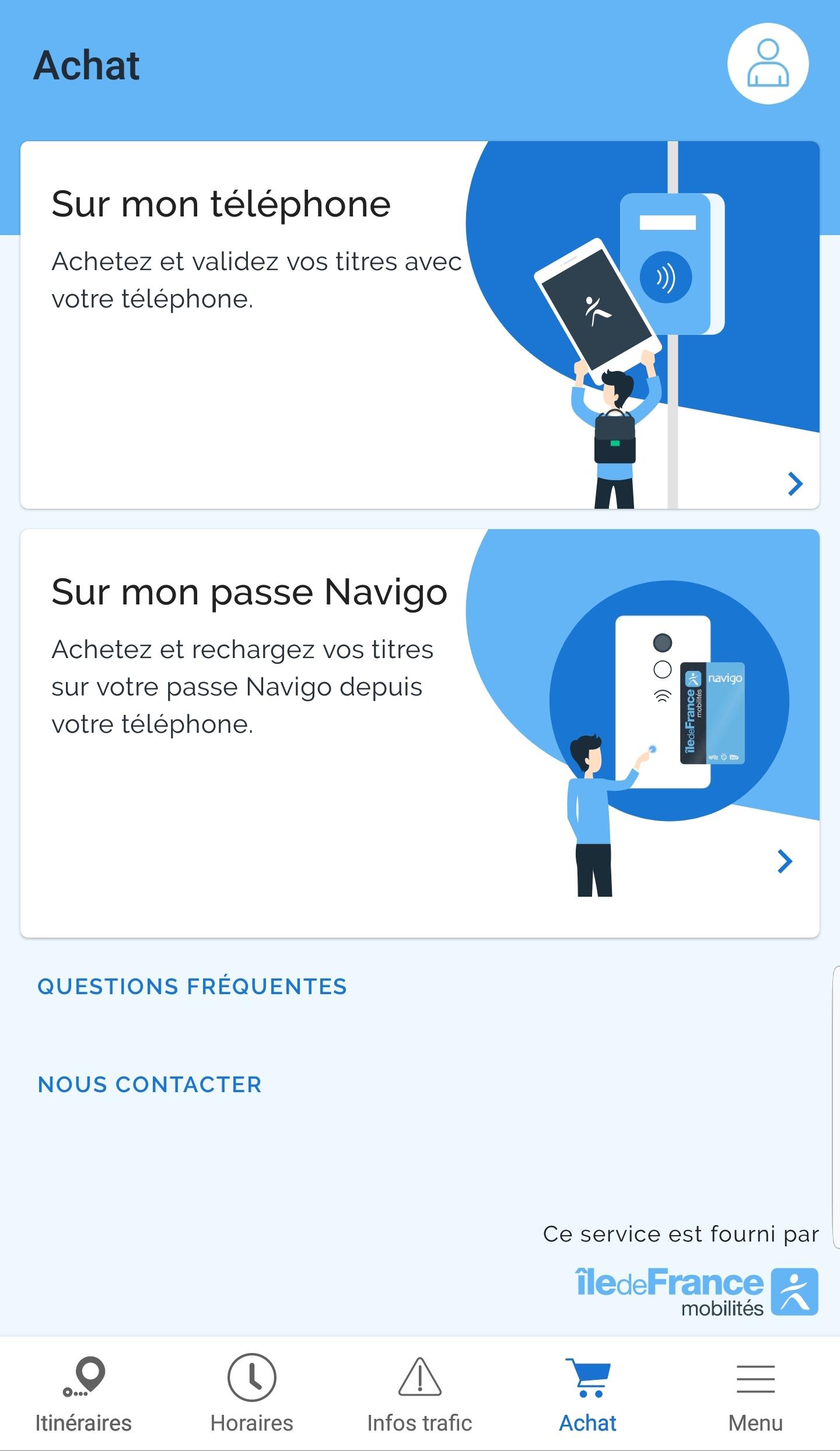 IDF Mobilités Rechargement Navigo Android